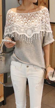 Crochet Lace Collar Shirt //