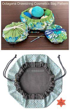 Octagana Drawstring Cosmetics Bag Pattern - Sew Modern Bags Sewing pattern for a round drawstring bag. This sinch up drawstring bag sewing pattern has an open Drawstring Bag Diy, Drawstring Bag Pattern, Diy Tote Bag, Bag Pattern Free, Bag Patterns To Sew, Sewing Patterns, Makeup Bag Pattern, Diy Makeup Bag, Sewing Projects