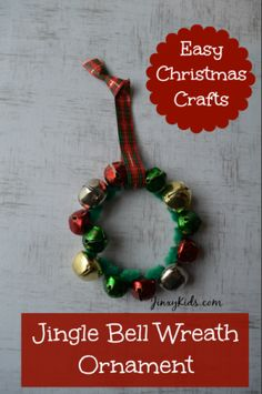 jingle bell wreath ornament easy craft kids christmas ornaments christmas ornament crafts ornament wreath - Homemade Christmas Decorations For Kids