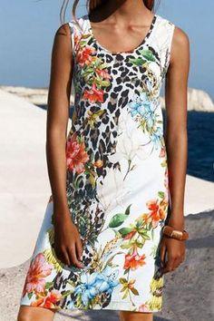 Sleeveless Color-block Floral Print Holiday Maxi Dress - insnova Boho Summer Dresses, Warm Dresses, Summer Dresses For Women, Casual Dresses, Mini Dresses, Floral Dresses, Chic Outfits, Fashion Outfits, Fashion Styles
