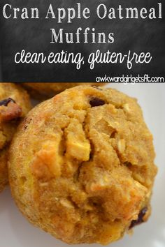 Cran Apple Oatmeal Muffins - gluten free and clean eating
