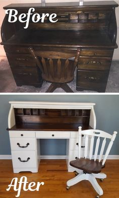 This roll top desk makeover was completed by painting, staining, and sten Transforming antique furniture. This roll top desk makeover was completed by painting, staining, and stenciling! Antique Furniture For Sale, Antique Desk, Repurposed Furniture, Antique Chairs, Desk Redo, Desk Makeover, Furniture Makeover, Painting Wooden Furniture, Cool Furniture