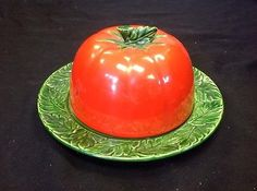 MARUHON WARE TOMATO BUTTER DISH MADE IN JAPAN SOUVENIR FROM CONEY ISLAND