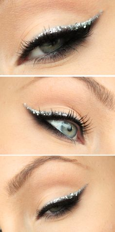 I really like this actually, perhaps purple glitter rather than white?   Smokey eyeliner with glitter | Helen Torsgrden  Hiilens sminkblogg