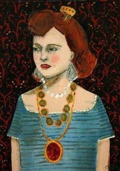 fine art print - she wore jewels made of memories - giclee print of original oil painting Woman Painting, Painting & Drawing, Illustrations, Illustration Art, Female Art, Folk Art, Artwork, Street Art, Fine Art Prints