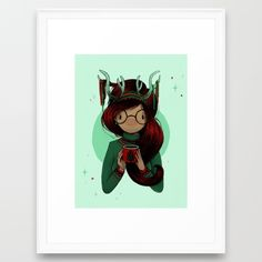 Christmas Party Framed Art Print by Abstrusa (illustration, art, design, ink, pen, girl, handmade, inspiration, product, hipster, drawing, ideas, portfolio, xmas, deer, christmas, party, cup, glasses)