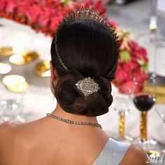 Showy hairstyle of Crown Princess Victoria of Sweden at Nobel Prize ceremonies in the years of 2015/2014/2012. (The Crown Princess was not able to attend the Nobel Prize ceremonies of the year of 2013).