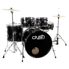 You can find a selection of CRUSH DRUMS including this CRUSH DRUMS AND PERCUSSION ALPHA 5-PIECE DRUM SET WITH CYMBALS, SPARKLE BLACK WITH CHROME HARDWARE at jsmartmusic.com