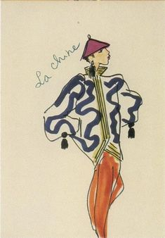 """Fall/Winter 1977 Chinese collection.  As The Handbook of Fashion Studies explains, """"Saint Laurent had a very French idea of the Orient stemming from late seventeenth and eighteenth-century exoticism and chinoiserie, commingled with twentieth-century collecting and the display of artifacts in European interiors and museums."""""""