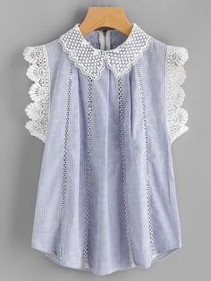 Contrast White Scallop Lace Trim  on Sleeveless Blue Pinstripe Blouse  US.SheIn.com