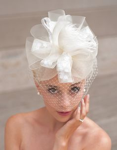Ivory Bow Style Bridal Birdcage Fascinator in Ivory Horsehair, Feathers and Floral Ribbon