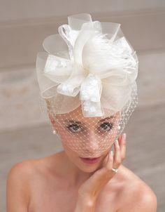 birdcage fascinator, birdcage veil, bow, bridal, bridal cocktail hat, bridal fascinator, bridal headpiece, bridal veil, fascinator, feathered, ivory, wedding, wedding hat