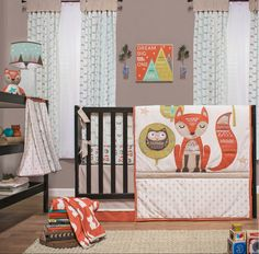 Add the essentials to your child's nursery with the Little Haven Clever Fox 4-Piece Crib Bedding Set. The dust ruffle, sheet, knit quilt and diaper stacker are made with 100% cotton and are machine washable for easy cleaning.
