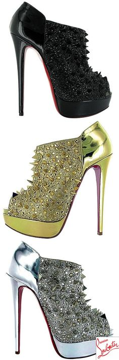 b2d4a726e964 Studded Christian Louboutin  Bridget s Back  heels in black. gold