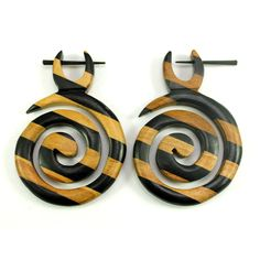 (SKU NO:sew_250) A Pair of Brown Black Multi Strap Earrings Coco Wood Wooden Boho Hippie Earrings, Krishna Mart India