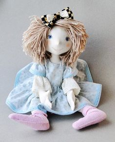 Alice in Wonderland Soft Doll / Great Gift / Stuffed Toy / Trendy Doll / Textile Doll / Fabric Doll / Summer Doll / Author Hanmade Doll
