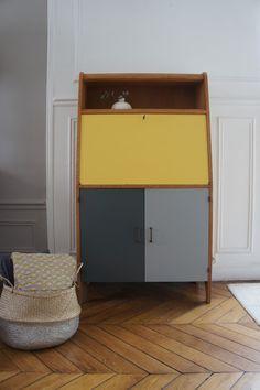 petit secretaire vintage en bois revisit tout en couleur relooking meubles pinterest. Black Bedroom Furniture Sets. Home Design Ideas