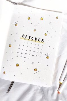 Best Bullet Journal Monthly Cover Ideas For October - Crazy Laura - - If you're looking for some new October monthly cover ideas to try in your bullet journal, then you need to check out these super fun and spooky spreads! Bullet Journal School, Bullet Journal Inspo, Bullet Journal Spreads, Bullet Journal Lettering Ideas, Bullet Journal Minimalist, Bullet Journal Headers, December Bullet Journal, Bullet Journal Cover Page, Bullet Journal Notebook