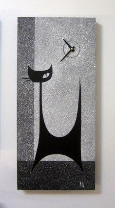 Retro Atomic Mid Century Modern MCM Style Cat by TikiQueenArts, $85.00