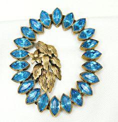Blue Rhinestone Dress  Clip Art Deco Brass Leaf Fur clip - pinned by pin4etsy.com