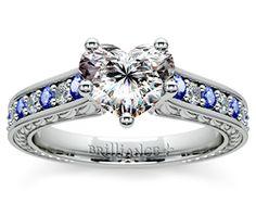 Heart Antique Diamond & Sapphire Gemstone Engagement Ring in White Gold  http://www.brilliance.com/engagement-rings/antique-diamond-sapphire-gemstone-ring-white-gold