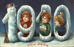 1910 Wishing You A Happy New Year Children Snowmen Stamp: Postmark/Cancel: 1909 Vintage Happy New Year, Happy New Year Photo, Happy New Years Eve, Happy New Year 2019, New Year Greeting Cards, New Year Greetings, New Year Card, Vintage Christmas Cards, Vintage Cards