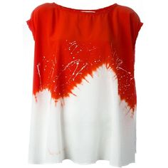 8pm Oversize Tie Dye T-Shirt ($285) ❤ liked on Polyvore featuring tops, t-shirts, red, red tee, red top, tie dye tops, oversized tee and tie-dye tops