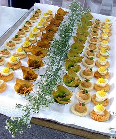 From left to right : Curried chicken in wonton cup, Deviled Quail Eggs and Spicy Tuna on pie pastry.
