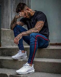 ed3da58b65 Stripe Ripped Jeans For Men Hip Hop Super Skinny Jeans Elastic –  myshoponline.com Outfit. Outfit Pantalon De MezclillaRopa De CaballeroVestidos  Sport ...