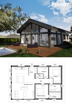 Fine Plan Maison Bois Plain Pied that you must know, You?re in good company if you?re looking for Plan Maison Bois Plain Pied Narrow House Plans, Small House Floor Plans, Simple House Plans, Dream House Plans, New Modern House, Modern House Plans, Rustic Lake Houses, Bungalow Interiors, Minimalist House Design