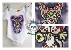 Día del gato muerto/Sugar Cat Onesie   Painted with fabric paints Size 00 (To fit 3 - 6months) Traditional Art, Art Forms, Body Art, Clothes, Fashion, Gatos, Outfits, Moda, Clothing