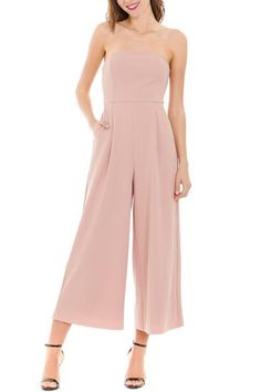 STRAPLESS JUMPSUIT IN BLUSH