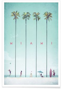 Miami by Henry Rivers as Premium Poster | Buy online at JUNIQE ✓ Reliable shipping ✓ Discover new designs at JUNIQE now!