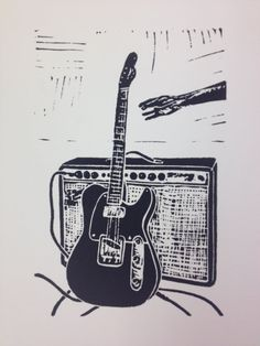 Guitar Print  Linocut Relief Limited Edition by SBLinocuts on Etsy, $20.00