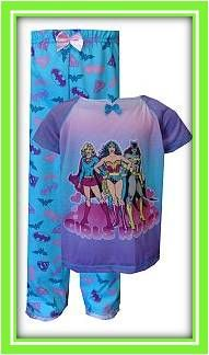 If superheroes are her thing, your girl will love these Girls Rule! short-sleeve pajamas, which feature Wonder Woman, Supergirl and Batgirl. Flame resistant. Machine washable in girls' sizes 4/5-7/8.