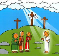 De engel brengt het nieuws van Jezus zijn herrijzenis Bible School Crafts, Catholic Crafts, Easter Story, Jesus Resurrection, Christian Kids, Vacation Bible School, Kids Church, New Testament, Sunday School