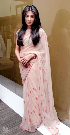 Chitrangada Sen in peach saree