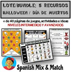 HALLOWEEN Y EL DÍA DE MUERTOS (LOTE/BUNDLE) by SPANISH MIX AND MATCH   Teachers Pay Teachers High School Spanish, Spanish Teacher, Teaching Spanish, Learning Resources, Teacher Resources, New Pins, Languages, How Are You Feeling, Messages
