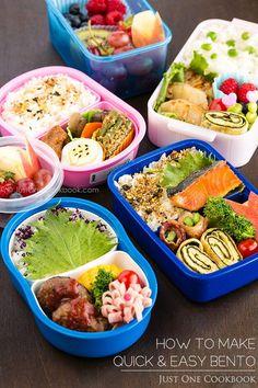 日本人のごはん/お弁当 Japanese meals/Bento. How To Make Bento | Easy Japanese Recipes at JustOneCookbook.com こういうのが普通にみんなが持って行ってる弁当です(所謂キャラ弁ぢゃないやつ)