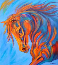 """""""Sunset Racer"""" by Theresa Paden, Acrylic paint ~ 40"""" x 36"""""""