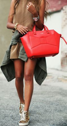 Kate Spade bag... pretty alternative to the pricey Celine. And that color palette looks great on her skin! #Red