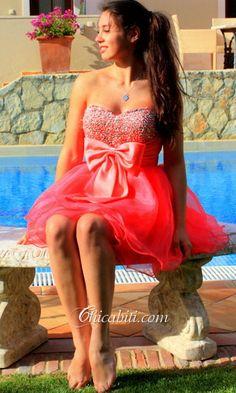 Fiocco Rosa Dolce Abiti da Cocktail Al Ginocchio Paillettes ACM046 #chicabiti
