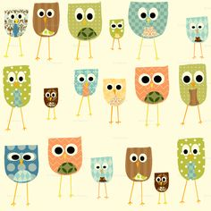 Owl fabric by Petunias on Spoonflower