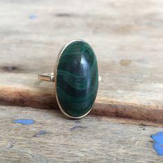 malachite ring by VictoriaVVintage on Etsy