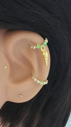 Gold Filled Sea Shell Cartilage Hoop Fire by HelenCollectionJewel
