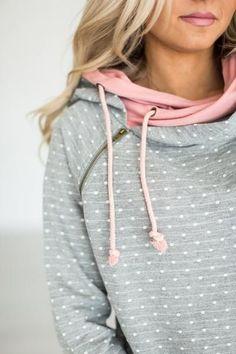 DoubleHood™ Sweatshirt - Polka Dot Pink