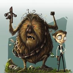 Han And Chewie Through Tim Burton's Eyes