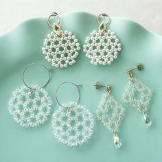 Beaded Jewellery, Beaded Jewelry Patterns, Bead Earrings, Crochet Earrings, Jewelry Ideas, Studs, Beading, Diy Crafts, Japanese