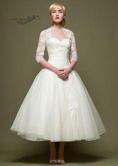 New Vintage Style Custom 3/4 Sleeve Tea Length Wedding Dresses with Lace Jacket