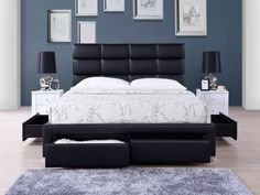 Pat Tapitat cu sertare Lars Black #homedecor #interiordesign #inspiration #interior #house #design #bedroomdecor #somproduct Bed Frame, Minimalism, Bedroom Decor, House Design, Interior Design, Decoration, Inspiration, Furniture, Home Decor